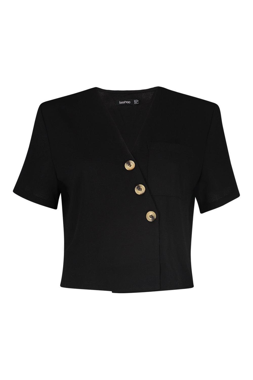 Horn Crop Horn Button black Shirt black Crop Button Horn Button Shirt rqw6XrxA