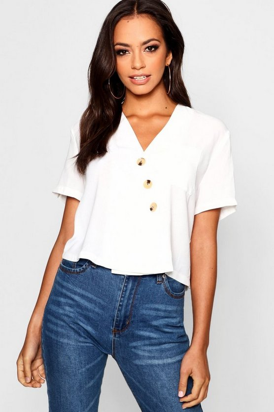Horn Button Crop Shirt