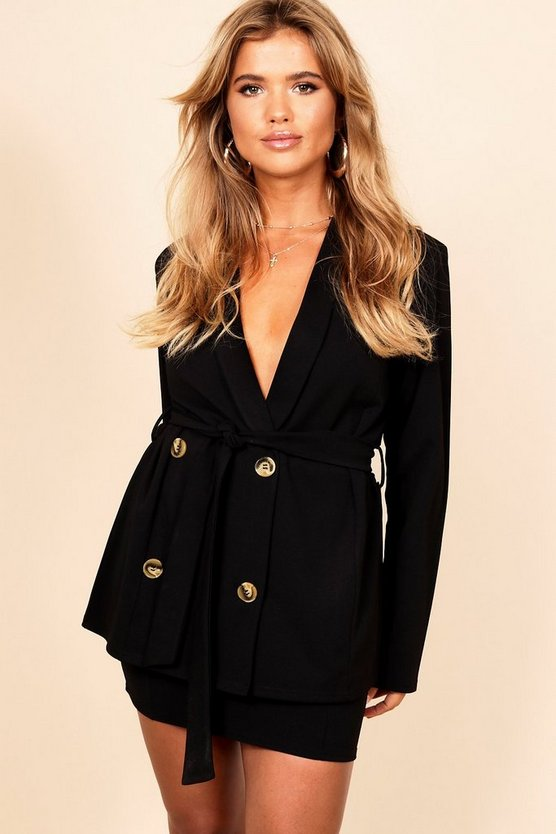 Belted Double Breasted Tie Belt Blazer