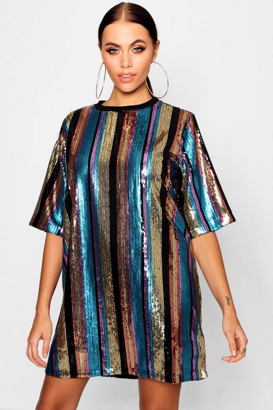 Womens Black Oversized Sequin Stripe T-Shirt Dress
