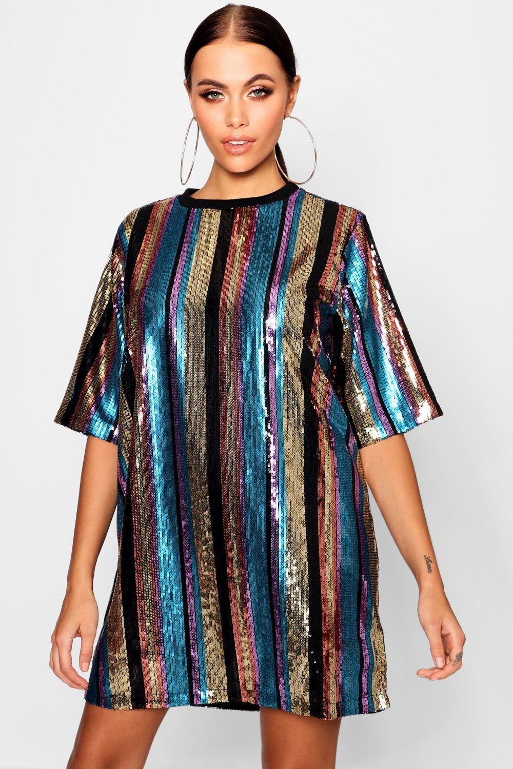 05846e3f6a486 Womens Black Oversized Sequin Stripe T-Shirt Dress. Hover to zoom