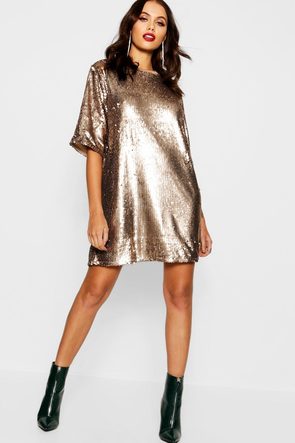 e881af678eb Womens Gold Matte Sequin Oversized T-Shirt Dress. Hover to zoom