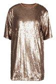 920e8fa5df ... Womens Gold Matte Sequin Oversized T-Shirt Dress alternative image ...