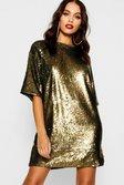 e41f3bb858 ... Womens Gold Matte Sequin Oversized T-Shirt Dress alternative image