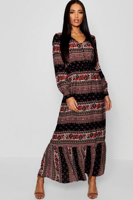 Bohemian Print Button Through Ruffle Hem Maxi Dress