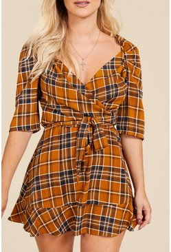 Womens Mustard Wrap Front Rouched Sleeve Checked Mini Dress