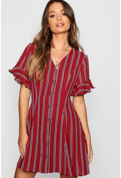 Womens Berry Button Front Striped Flared Sleeve Shift Dress