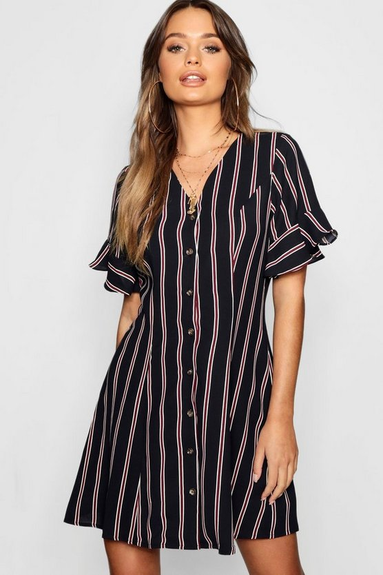 Button Front Striped Flared Sleeve Shift Dress