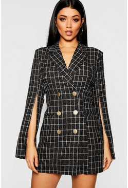 Womens Black Button Front Split Sleeve Blazer Dress