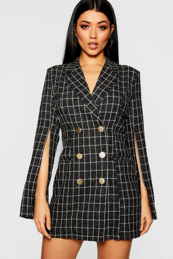 Button Front Split Sleeve Blazer Dress