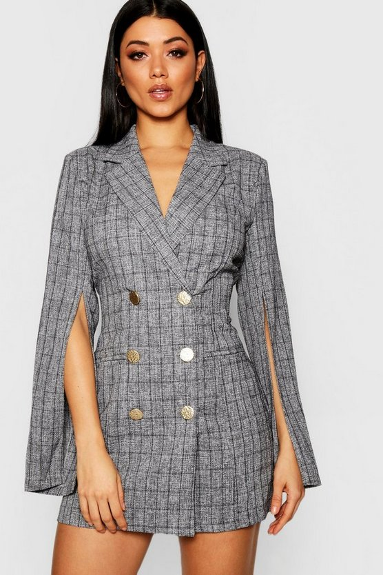 Womens Charcoal Button Front Split Sleeve Blazer Dress