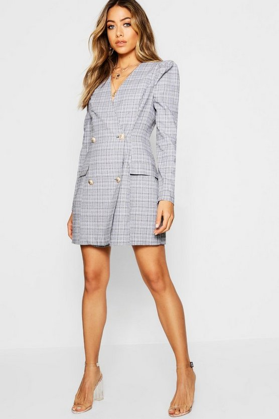 Mini Dogtooth Wrap Front Blazer Dress