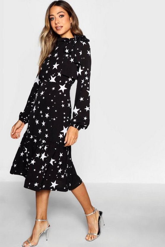 Womens Black Tie Neck Star Print Midi Dress