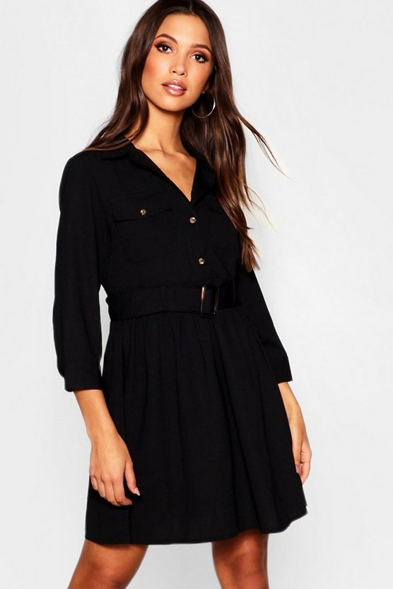 Black Horn Button Belted Utility Shirt Dress