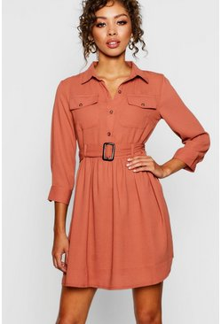 Womens Brick Horn Button Belted Utility Shirt Dress
