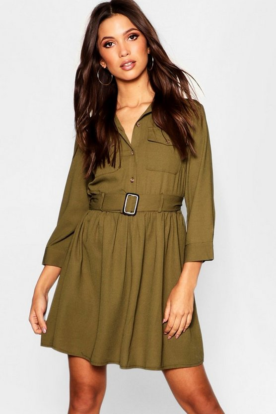 Horn Button Belted Utility Shirt Dress
