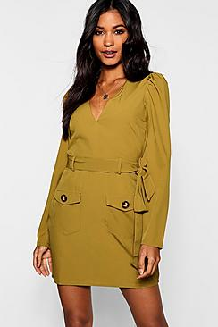 Belted Pocket Front Utility Shift Dress