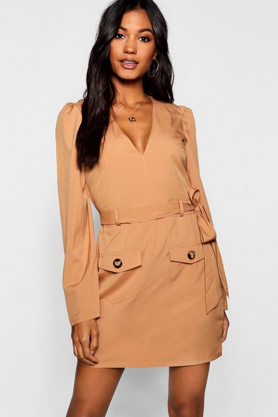 Womens Sand Belted Pocket Front Utility Shift Dress