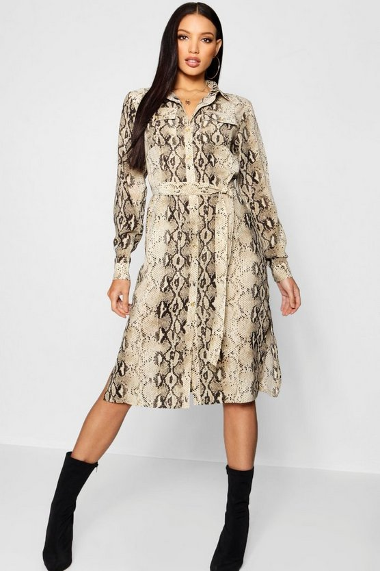 Snake Print Pocket Front Midi Shirt Dress
