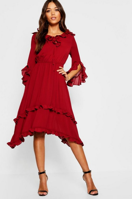 Ruffle Detail Hanky Hem Midi Dress
