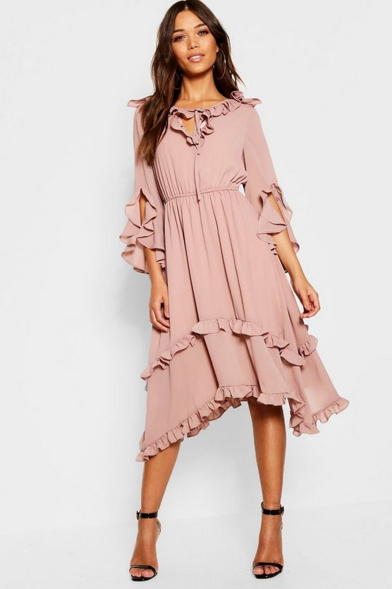Womens Ruffle Detail Hanky Hem Midi Dress