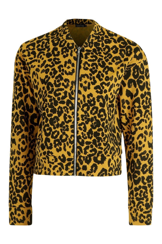 Bomber Bomber Leopard Jacket Leopard Print Print mustard Jacket mustard Jacket Leopard mustard Bomber Print t1qwx8S0B