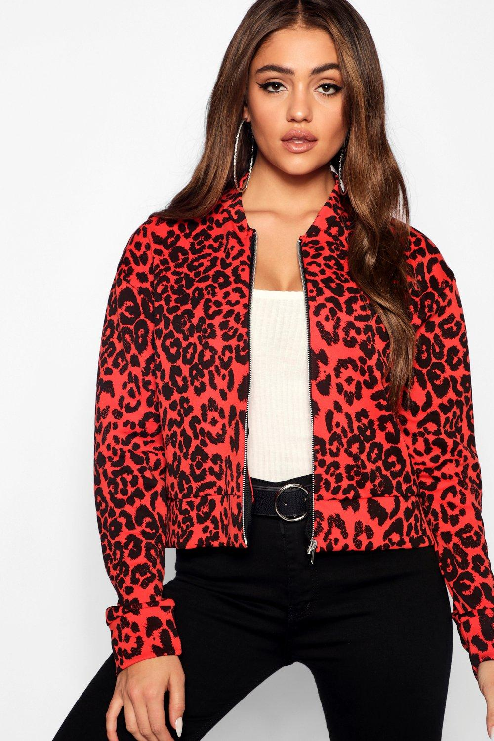 Print Jacket Leopard Jacket Bomber red Print Bomber Leopard w7IqRSY