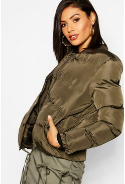 Womens Khaki Quilted Bomber Jacket