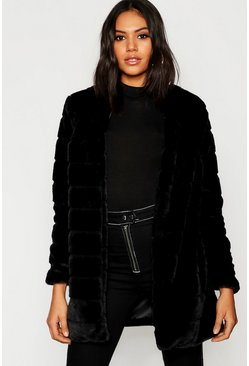 Womens Panelled Faux Fur Coat