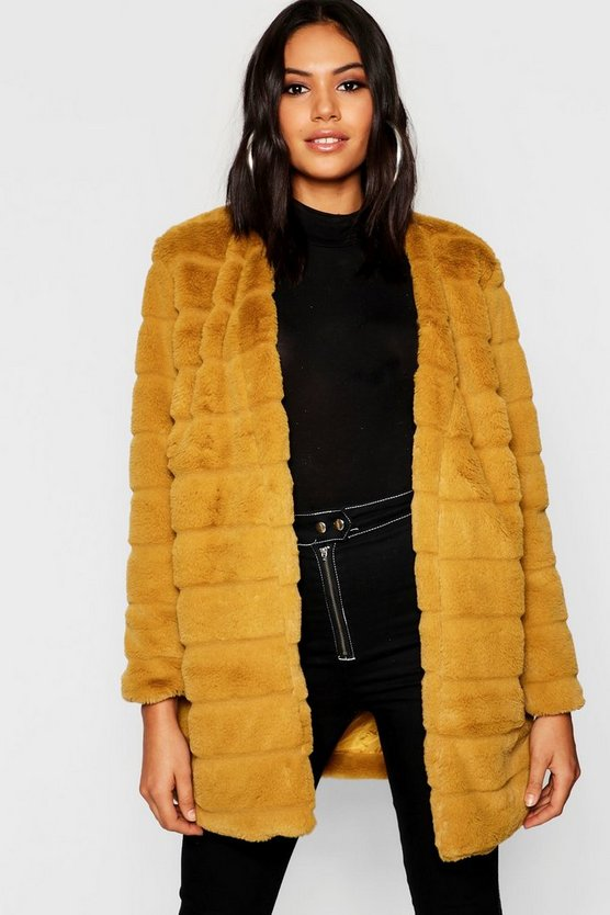 Panelled Faux Fur Coat