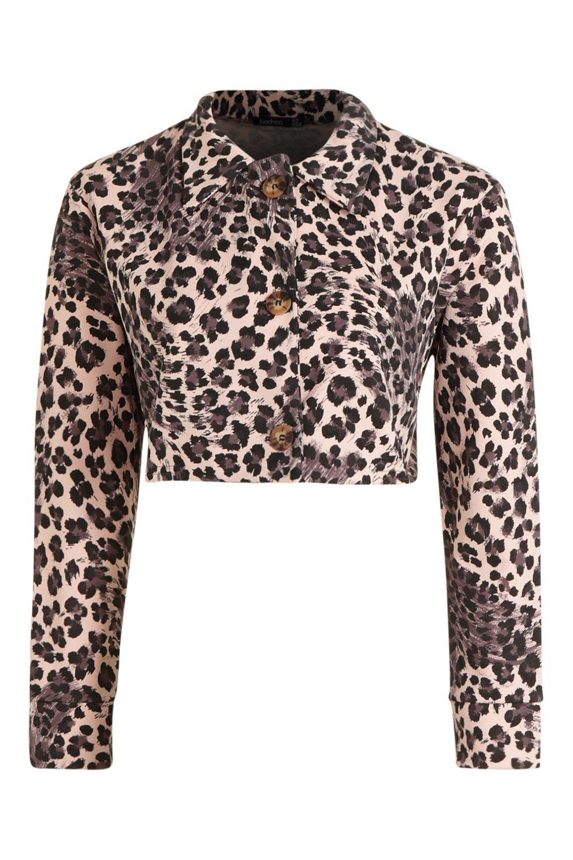 Leopard Print Jacket Trucker Trucker Leopard Print Jacket natural 7xa1d
