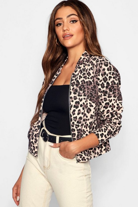 Womens Natural Leopard Print Bomber Jacket