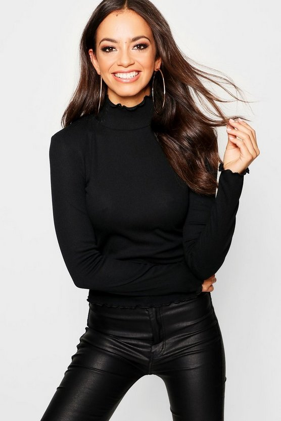 Womens Black Turtle Neck Lettuce Detail Top