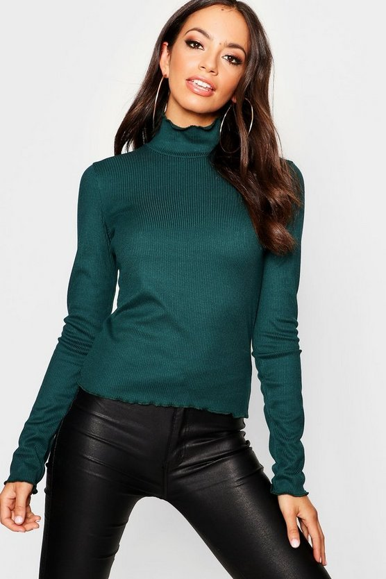 Womens Green Turtle Neck Lettuce Detail Top