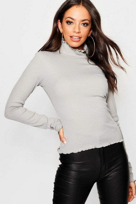 Turtle Neck Lettuce Detail Top