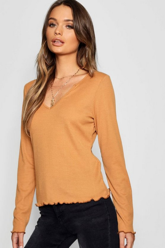 Notch Front Rib Lettuce Hem Top