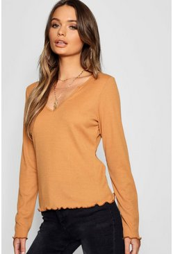Womens Toffee Notch Front Rib Lettuce Hem Top