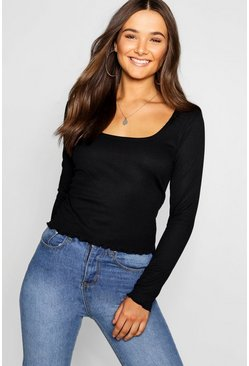 Womens Black Lettuce Hem Scoop Long Sleeve Rib Top