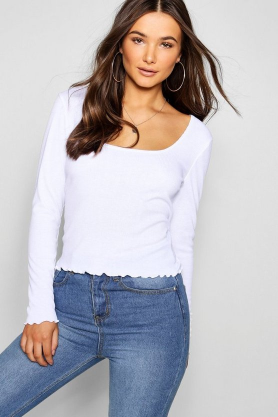 Lettuce Hem Scoop Long Sleeve Rib Top