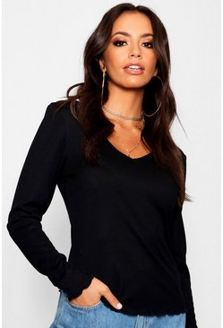Womens Black Long Sleeve V Neck Lettuce Hem Top
