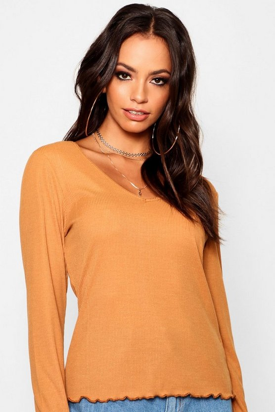Long Sleeve V Neck Lettuce Hem Top
