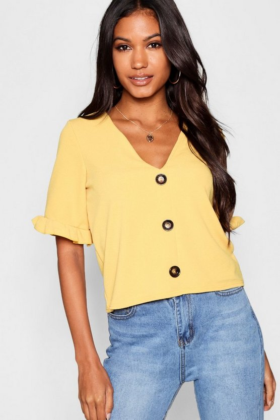 Button Down Frill Sleeve Top