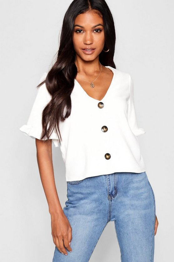 Womens White Button Down Frill Sleeve Top