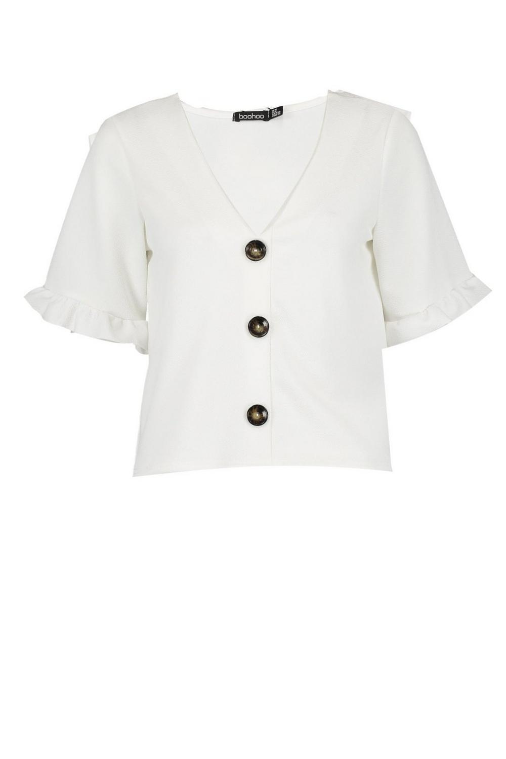 Button Frill white Sleeve Top Down prp8qvwxa