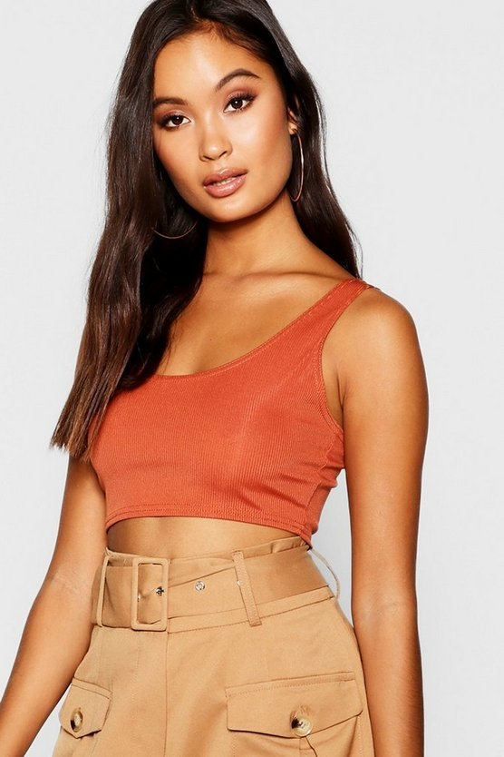 Womens Brick Rib Scoop Neck Bralet