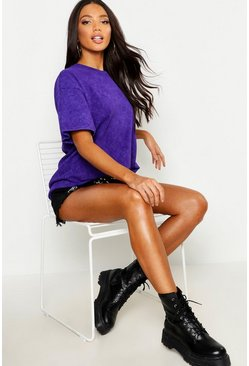 Womens Purple Stone Wash Oversized T-Shirt