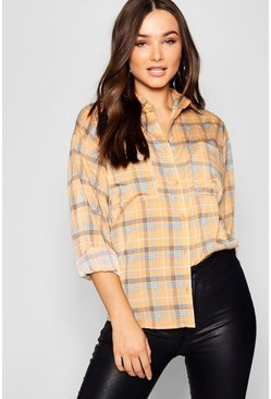 Womens Mustard Oversized Check Chiffon Shirt