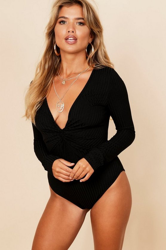 Womens Black Jumbo Rib Twist Front Long Sleeve Bodysuit
