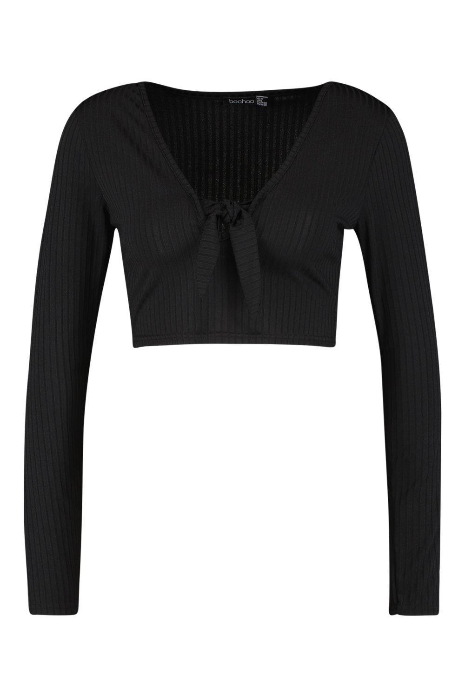 Tie Top Front Jumbo Crop black Rib wPqA1
