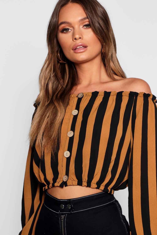 Button Shoulder Top Off Woven Stripe mustard Horn 1Uf4wwHq